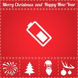 Battery Icon Vector. And bonus symbol for New Year - Santa Claus, Christmas Tree, Firework, Balls on deer antlers royalty free illustration
