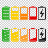 Battery icon vector set on isolated background. Symbols of batte Royalty Free Stock Images