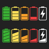 Battery icon vector set isolated on black background. Stock Photography