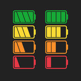 Battery icon vector set isolated on black background. Stock Photos