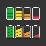 Battery icon vector set isolated on black background. Royalty Free Stock Photo