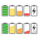 Battery icon vector set isolated on white background. Stock Images