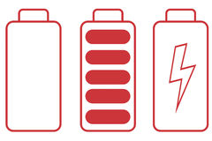Battery icon on white background Stock Photo