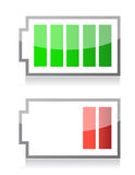 Battery icons. Illustration isolated over a white background Stock Images
