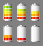 Battery icons. Different states of charged battery icons Royalty Free Stock Photography