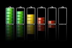 Battery Icons on Dark Background. Vector vector illustration