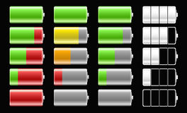 Battery icons with different charge levels for mob Royalty Free Stock Photos