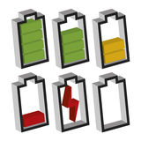 Battery icons with different charge status. Icons sowing different charge status in an electric battery. Full charge, medium charge, low charge, empty, out of Stock Photo