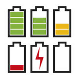 Battery icons with different charge status. Icons sowing different charge status in an electric battery. Full charge, medium charge, low charge, empty, out of vector illustration
