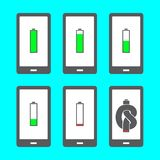 Battery icons in different stages of decline. Smartphone with battery icons in different stages of decline until it becomes knotted stock illustration