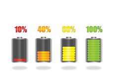 Battery Icons. Battery Energy Indicator 3D Icons Stock Images