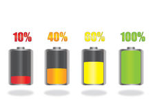 Battery Icons. Battery Energy Indicator 3D Icons Stock Photography