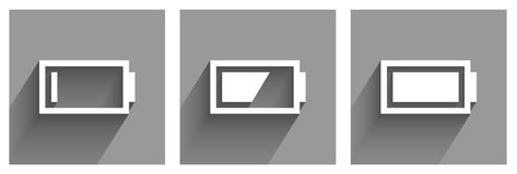 Battery icons in grey Royalty Free Stock Image