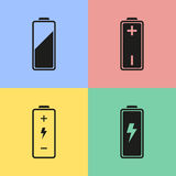 Battery icons. Set of black battery icons. Vector illustration Stock Illustration