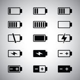 Battery icons set Stock Photos