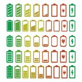 Battery icons set colored. Vector.  Royalty Free Stock Photo