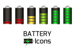 Battery Icons set Royalty Free Stock Photos