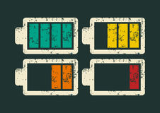 Battery icons set. Typographic retro grunge vector illustration. Royalty Free Stock Photos