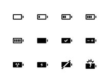 Battery icons on white background. Vector illustration Stock Photo