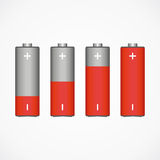 Battery - an increase of energy. Rising energy in the form of batteries. red and gray. vector format Royalty Free Stock Images