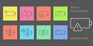 Battery indicator icons. Accumulator battery indicators line icon set. Modern coloristic style and editable stroke. Horizontal alert indicators Royalty Free Stock Image