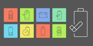 Battery indicator icons. Accumulator battery indicators line icon set. Modern ecological icons on coloristical background Stock Photo