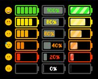 Battery indicator icons. Collection. Vector illustration Royalty Free Stock Photography