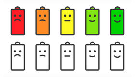 Battery indicator smiley icons Royalty Free Stock Photos