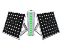 Battery with indicators and solar panels Stock Photography