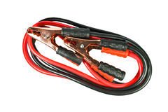 Battery jumper cables on white background.  Royalty Free Stock Image