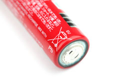 Battery labelled with the crossed out bin symbol Stock Photos