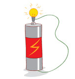 Battery and lamp Royalty Free Stock Image