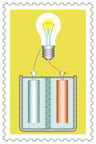 Battery and lamp on stamp Stock Photos