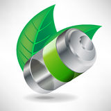Battery and leaves eco concept Stock Photo