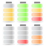 Battery Level Indicator Set Color Coded. Eps 10 Vector Illustration of Battery Level Indicator Set Color Coded Stock Photography