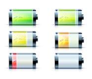 Battery level indicators. Vector illustration of detailed glossy battery level indicator icons Royalty Free Stock Images