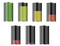 Battery level indicators. Battery level indicator isolated on white background Stock Photos