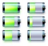 Battery level indicators. Vector illustration of detailed glossy battery level indicator icons Royalty Free Stock Photo