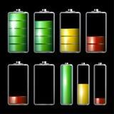 Battery Life Icons Set. On Dark Background vector illustration