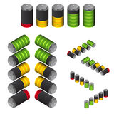 The battery life indicator. Isometric view. stock illustration