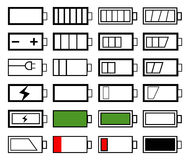 Battery life. Set of battery life indicator designs Stock Images