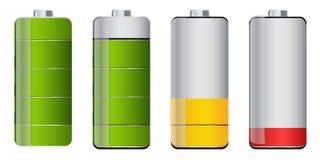 Battery life. Set of battery life indicator designs Royalty Free Stock Photos