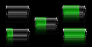Battery life symbols. A battery or power symbol with different amounts of charge left Stock Photos
