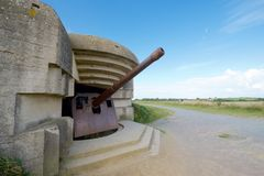 Battery of Longues sur Mer. Normandy, France stock photography