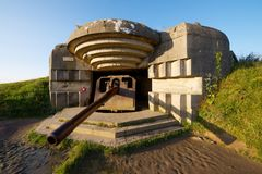 Battery of Longues sur Mer. Normandy, France stock images