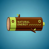 Battery looks like firewood. Natural Energy. Battery looks like firewood. Ecology & energy metaphor. Vector illustration Stock Photography