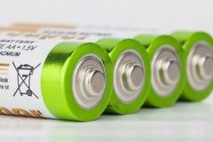 Battery. Lying AA Batteries - Stock Image macro Royalty Free Stock Photos