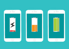 Battery Mobile Phone Full And Low Energy. Vector Illustration Flat Royalty Free Stock Images