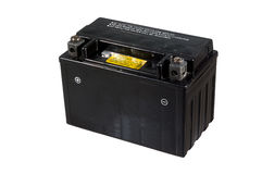 Battery for motorcycle. Small black battery for motorcycle or scooter Stock Photos