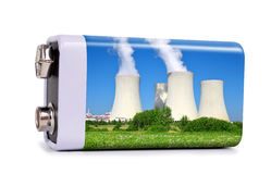 Battery with nuclear power plant Stock Photos
